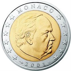 Obverse of Monaco 2 euros 2001 - Sovereign Prince Rainier III