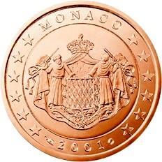 Obverse of Monaco 5 cents 2001 - Grimaldi coat of arms