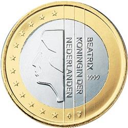Obverse of Netherlands 1 euro 2008 - Queen Beatrix in profile