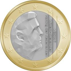 Obverse of Netherlands 1 euro 2014 - King Willem-Alexander