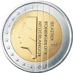 Obverse of Netherlands 2 euros 2001 - Queen Beatrix in profile