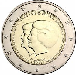 Obverse of Netherlands 2 euros 2013 - Change of Throne Announcement