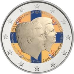Obverse of Netherlands 2 euros 2014 - King's Double Portrait