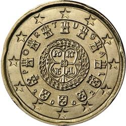 Obverse of Portugal 20 cents 2002 - Portuguese Royal Seal - AD 1142