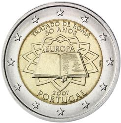 Obverse of Portugal 2 euros 2007 - 50th anniversary of the Treaty of Rome