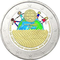 Obverse of Portugal 2 euros 2008 - 60th Anniversary of the Universal Declaration of Human Rights