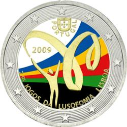 Obverse of Portugal 2 euros 2009 - 2nd Lusophone Games