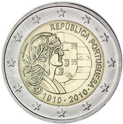 Obverse of Portugal 2 euros 2010 - Centenary of the Portuguese Republic