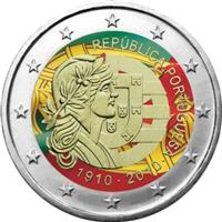Image of Portugal 2 euros colored euro