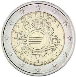 Obverse of Portugal 2 euros 2012 - 10 years of euro banknotes and coins