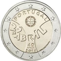 Obverse of Portugal 2 euros 2014 - 40 Years since the Carnation Revolution