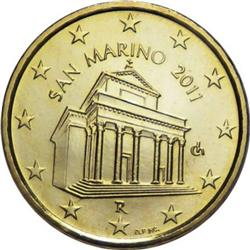 Obverse of San Marino 10 cents 2008 - Basilica of San Marinus