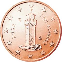 Obverse of San Marino 1 cent 2004 - Third tower - Il Montale