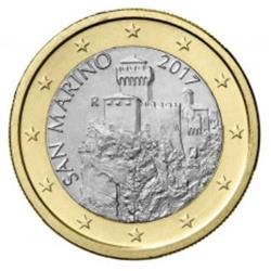 Obverse of San Marino 1 euro 2018 - Second Tower