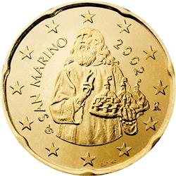 Obverse of San Marino 20 cents 2008 - Saint Marinus inspired by a painting of the school of Guercino