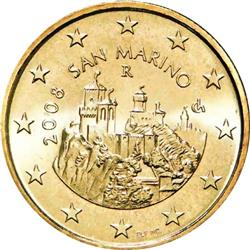 Obverse of San Marino 50 cents 2008 - The Three Towers of San Marino - La Guaita, La Cesta, Il Montale