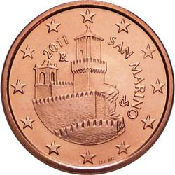 Obverse of San Marino 5 cents 2006 - First tower - La Guaita
