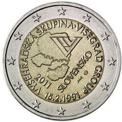 Obverse of Slovakia 2 euros 2011 - 20th Anniversary of Foundation of the Visegrad Group