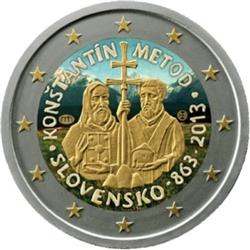 Obverse of Slovakia 2 euros 2013 - Saint Cyrillus and Methodius