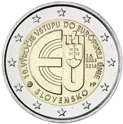 Obverse of Slovakia 2 euros 2014 - 10 Years of Slovakian Membership in EU