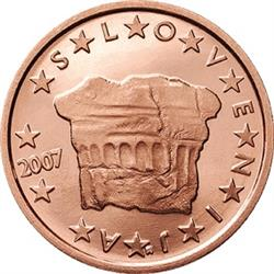 Obverse of Slovenia 2 cents 2007 - Sovereign Enthronement Stone