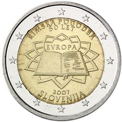 Obverse of Slovenia 2 euros 2007 - 50th anniversary of the Treaty of Rome