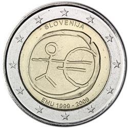 Obverse of Slovenia 2 euros 2009 - 10th anniversary of the EMU and the birth of the euro