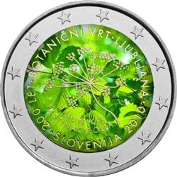 Obverse of Slovenia 2 euros 2010 - 200th anniversary of the botanical garden in Ljubljana