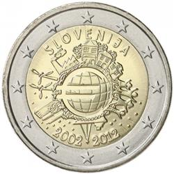 Obverse of Slovenia 2 euros 2012 - 10 years of euro banknotes and coins