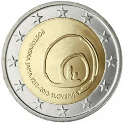 Obverse of Slovenia 2 euros 2013 - 800th anniversary of visits to Postojna Cave