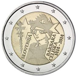 Obverse of Slovenia 2 euros 2014 - 600th anniversary of Barbara of Celje