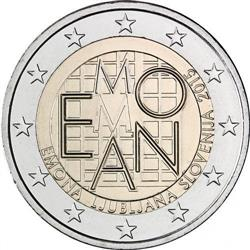 Obverse of Slovenia 2 euros 2015 - 2000 years of Emona - Ljubljana