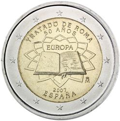 Obverse of Spain 2 euros 2007 - 50th anniversary of the Treaty of Rome