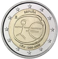 Obverse of Spain 2 euros 2009 - 10th anniversary of the EMU and the birth of the euro