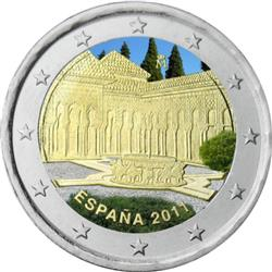 Obverse of Spain 2 euros 2011 - Lion yard of the Alhambra, Granada