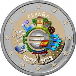 Obverse of Spain 2 euros 2012 - 10 years of euro banknotes and coins