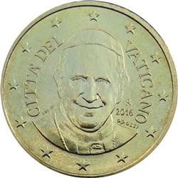 Obverse of Vatican 10 cents 2014 - Portrait of His Holiness Pope Benedict XVI