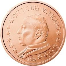 Obverse of Vatican 1 cent 2002 - Portrait of His Holiness Pope John Paul II