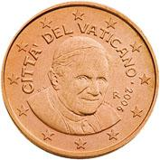 Obverse of Vatican 1 cent 2012 - Portrait of His Holiness Pope Benedict XVI