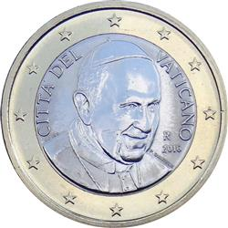 Obverse of Vatican 1 euro 2014 - Portrait of His Holiness Pope Benedict XVI