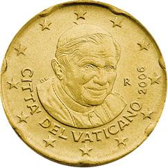 Obverse of Vatican 20 cents 2008 - Portrait of His Holiness Pope Benedict XVI