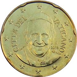Obverse of Vatican 20 cents 2014 - Portrait of His Holiness Pope Benedict XVI