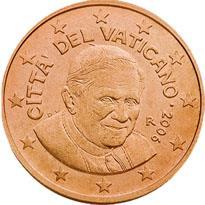 Obverse of Vatican 2 cents 2013 - Portrait of His Holiness Pope Benedict XVI
