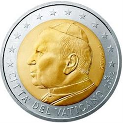 Obverse of Vatican 2 euros 2004 - Portrait of His Holiness Pope John Paul II