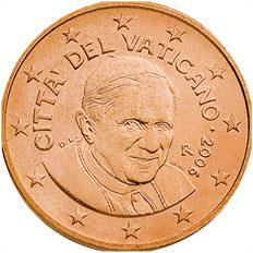 Obverse of Vatican 5 cents 2010 - Portrait of His Holiness Pope Benedict XVI