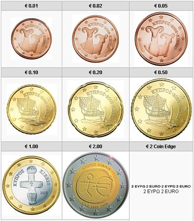 Obverse of Cyprus Complete Year Set - EMU 2009