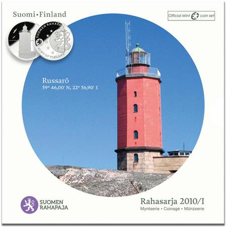 Obverse of Finland Official Blister - Russaro Lighthouse 2010