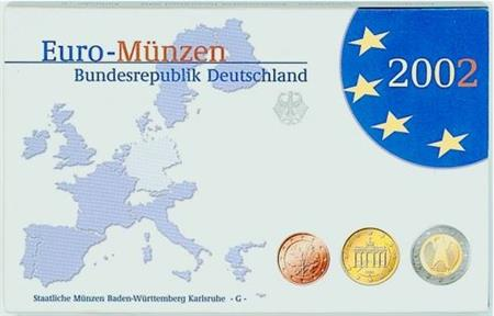 Obverse of Germany Proof Set - Mintmark J 2002