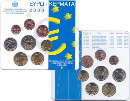 Obverse of Greece Official Blister 2003