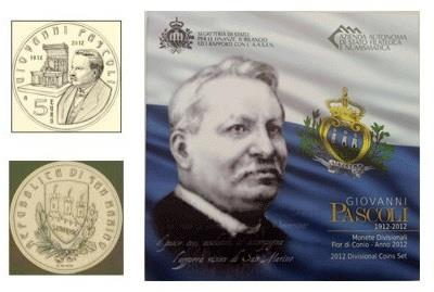 Obverse of San Marino Official Blister - Giovanni Pascoli 2012